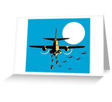 World War Two Bomber Airplanes Drop Bomb Retro Greeting Card