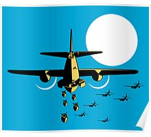 World War Two Bomber Airplanes Drop Bomb Retro Poster