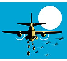 World War Two Bomber Airplanes Drop Bomb Retro Photographic Print