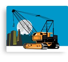 Construction Crane Hoist Retro Canvas Print