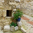 Old Walls And A Blue Pot In Eze by Fara