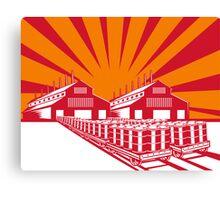 Factory Building Oil Drum Barrel Retro Canvas Print