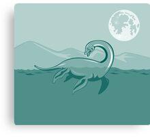 Loch Ness Monster Retro Canvas Print