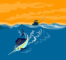 Sailfish Fish Jumping Retro by patrimonio