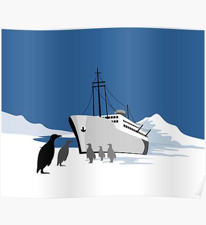 Passenger Ship Cargo Boat Anchor Retro Poster