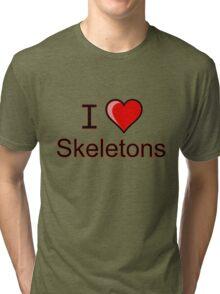 I love Halloween skeletons  Tri-blend T-Shirt