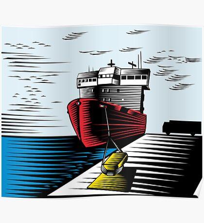 Passenger Ship Ferry Boat Anchor Retro Poster