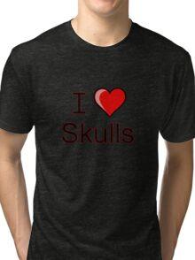 I love Halloween Skulls  Tri-blend T-Shirt