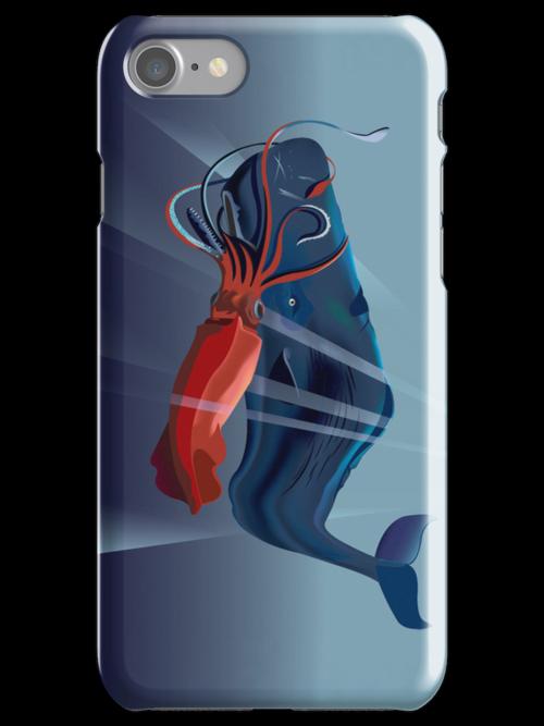 Giant Squid and Sperm Whale by Bill Chodubski
