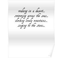 waking in a desert - black text / white outline Poster