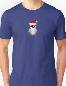 Baby Penguin Wearing a Santa Hat on Blue T-Shirt