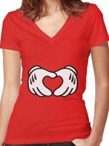 Hand Heart  Women's Fitted V-Neck T-Shirt