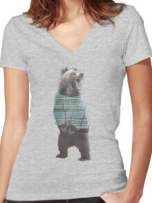 Sweater Bear Women's Fitted V-Neck T-Shirt