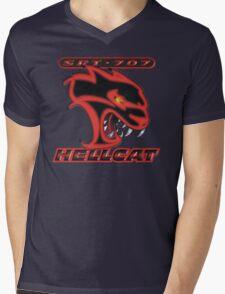 Hellcat - Red & Black Mens V-Neck T-Shirt