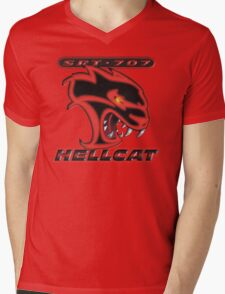 Hellcat - Red & Black Mens V-Neck T-Shirt