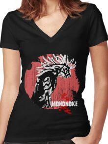 Princess Mononoke - Godzilla version  Women's Fitted V-Neck T-Shirt