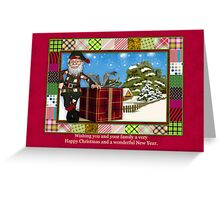 Santa Christmas Greeting Card With Scenery Greeting Card