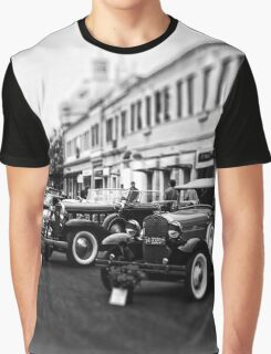 Vintage, Antique Cars on Display, Black and White Graphic T-Shirt