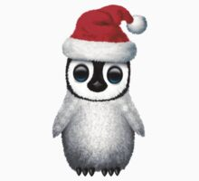Baby Penguin Wearing a Santa Hat on Red Kids Clothes