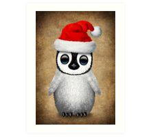 Baby Penguin Wearing a Santa Hat  Art Print