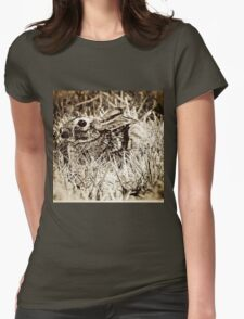 Cottontail Rabbit, Bunny, in Grass, Sepia, Grunge Womens Fitted T-Shirt