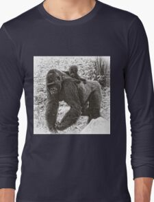 Lowland Gorilla Mother with Baby on Back, Black and White Long Sleeve T-Shirt