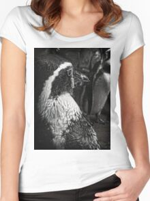 Humboldt Penguin, Black and White Women's Fitted Scoop T-Shirt