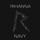 Rihanna Navy &#x27;R&#x27; Design Black Case by TalkThatTalk