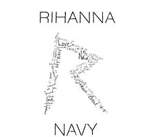 Rihanna Navy 'R' Design White Case by TalkThatTalk