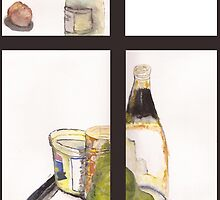 Bottle, can, potatoes a watercolor painting by s1lence