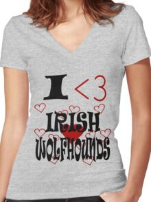 I <3 Irish Wolfhounds Women's Fitted V-Neck T-Shirt