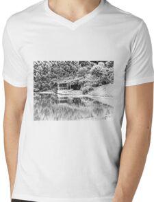 Dock on Water, Trees, Tilt-Shift, Black and White Mens V-Neck T-Shirt