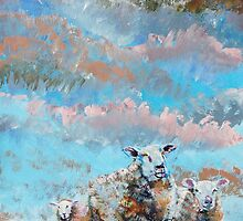 The Golden Flock - Colorful sheep painting by MikeJory