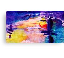 Abstract sunset at sea, watercolor Canvas Print
