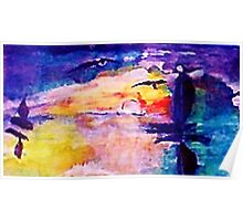 Abstract sunset at sea, watercolor Poster