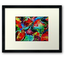 Colorful Fall leaves, watercolor Framed Print