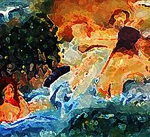 The bathers, my version, watercolor by Anna  Lewis
