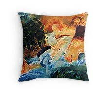 The bathers, my version, watercolor Throw Pillow