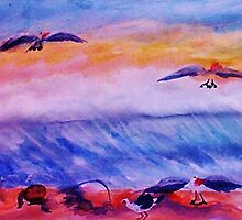 Seagulls in the surf, watercolor by Anna  Lewis