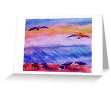 Seagulls in the surf, watercolor Greeting Card