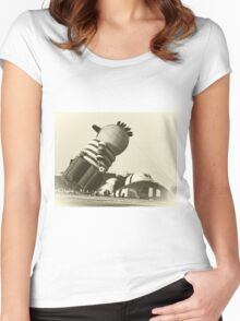 Funny Hot Air Balloon, Vintage Style Photo Women's Fitted Scoop T-Shirt