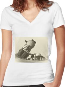 Funny Hot Air Balloon, Vintage Style Photo Women's Fitted V-Neck T-Shirt