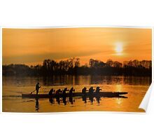 Group of people rowing to success Poster