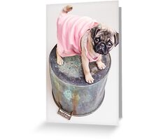 Pug Puppy in pink sun dress Greeting Card
