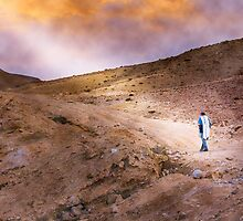 Jewish prayer in the desert wearing a tallit by SharonYanai