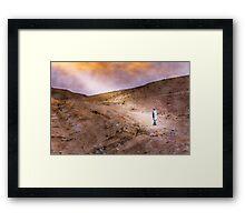 Jewish prayer in the desert wearing a tallit Framed Print