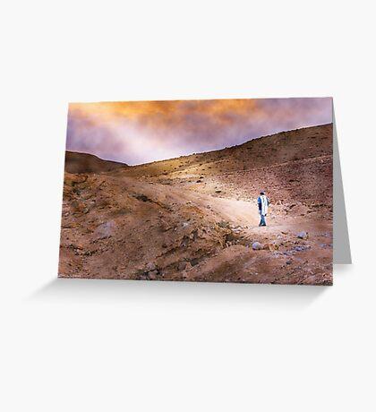 Jewish prayer in the desert wearing a tallit Greeting Card