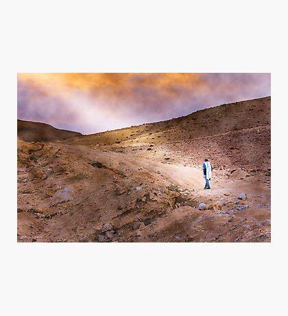 Jewish prayer in the desert wearing a tallit Photographic Print