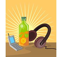 Mobile Phone Soda Drink Headphone Retro Photographic Print