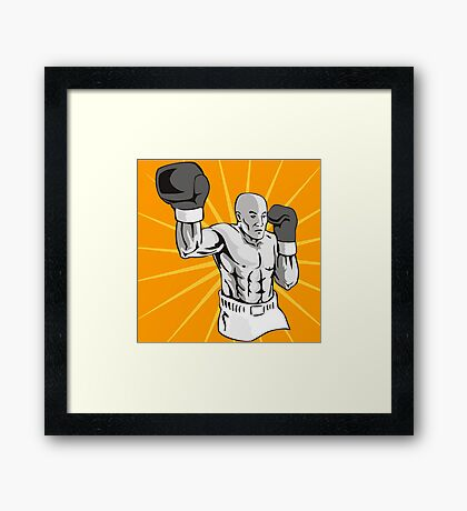 Boxer Boxing Knockout Punch Retro Framed Print